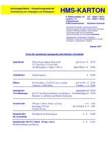 thumbnail of Preisliste Spannband etc. Januar 2017